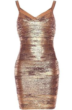Bronzed Beauty Dress: Features a glistening, beautifully-textured bronze foundation, flattering surplice neckline, super sexy body-conscious silhouette, and a centered rear zip closure to finish.