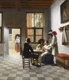 Pieter de Hooch (Rotterdam 1629-Amsterdam 1684)  Cardplayers in a sunlit Room  Signed and dated 1658 Oil on canvas | RCIN 405951