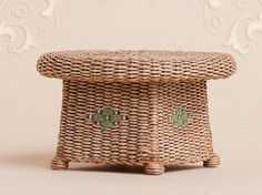 """WC/010, wicker """"Ottoman"""" table, scale 1 : 12, made by Will Werson."""
