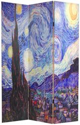 "Vincent Van Gogh ""starry night"" printed on a room divider screen"