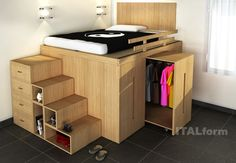 Bedroom Design: Enchanting Bedroom Storage Design With Cool Space Saving Beds Cool Loft Beds, Bunk Beds With Stairs, Full Bed Loft, Adult Loft Bed, Bunk Bed With Desk, Small Room Design, Bed Design, House Design, Loft Design