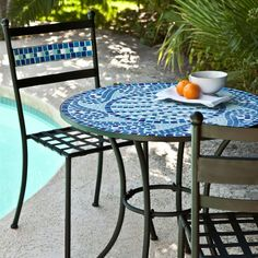 A great addition, not just to your outdoor dining area but to your kitchen corner as well, this Outdoor Aqua Blue Mosaic Tiles Patio Furniture Bistro Set will bring with it a splash of the . Garden Coffee Table, Coffee Table Plans, Diy Coffee Table, Garden Table, Patio Furniture Sets, Outdoor Furniture, Furniture Ideas, Furniture Design, Blue Furniture