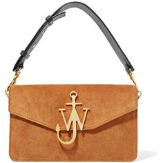 J.W.Anderson Logo leather-trimmed suede shoulder bag (18.279.900 IDR) ❤ liked on Polyvore featuring bags, handbags, shoulder bags, shoulder hand bags, shoulder handbags, suede leather handbags, j.w. anderson and white purse