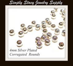 4mm Corrugated Silver Plated Round Spacer by StacyJewelrySupply, $3.74