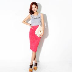 Dresses :: Casual :: morgane printed wrinkle textured colour skirt 1pc. dress - Korean Fashion @ 스타일지
