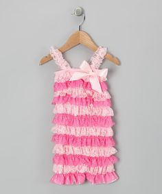 Take a look at this Pink & Hot Pink Lace Ruffle Romper - Infant & Toddler by Beary Basics on #zulily today!