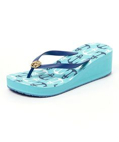 Navy & Aqua Anchors Away Wedge flip flop