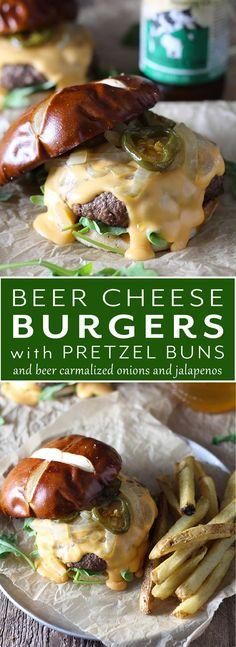Beer Cheese Burgers on Pretzel Buns Modern Farmhouse Eats Beer Cheese Burgers o… Food – Women Block Beer Burger, My Burger, Burger Buns, Cheese Burger, Best Cheese For Burgers, Pretzel Bread Sandwich, Pretzel Cheese, Burger Food, Recipes