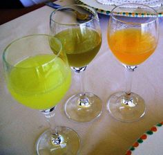 homemade liqueurs - lemon, fennel, tangerine