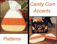 PATTERN: Candy Corn Coasters in Plastic Canvas by littlesapphire Plastic Canvas Stitches, Plastic Canvas Tissue Boxes, Plastic Canvas Crafts, Plastic Canvas Patterns, Zombies, Christmas Crafts For Gifts, Christmas Boxes, Red Heart Yarn, Tissue Box Covers