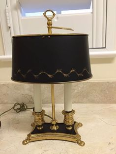 Polished Brass Lamp with Black Tole Shade - Regency Bouillotte Style
