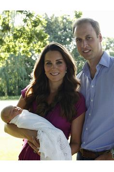 The Duke and Duchess of Cambridge with Prince George of Cambridge for their first family portrait