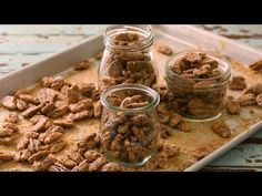 Pecans are baked in a sweet cinnamon coating, creating tasty candied pecans perfect for holiday gifts. Candied Pecans Recipe, Roasted Pecans, Candied Nuts, Glazed Pecans, Muffin Recipes, Snack Recipes, Snacks, Candy Recipes, Dinner Recipes
