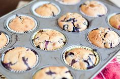 Apple sauce and blueberry whole wheat muffins
