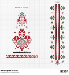 Женска риза от Сеново – Vezba Hungarian Embroidery, Folk Embroidery, Learn Embroidery, Cross Stitch Embroidery, Embroidery Patterns, Machine Embroidery, Cross Stitch Borders, Cross Stitch Designs, Cross Stitching