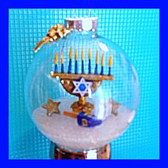 Hanukkah Ornament - Menorah & dreidel made out of polymer clay