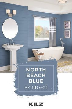 For a classic shade of blue with a light gray undertone turn to KILZ COMPLETE C Blue Paint Colors, Bathroom Paint Colors, Paint Colors For Home, House Colors, Nautical Bathroom Paint, Nautical Paint Colors, Guest Bathroom Colors, Accent Colors For Gray, Colours