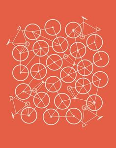 Bike Mess  hand made screen print  signed & numbered 225  measures 11 inches x 14 inches  Brent Couchman