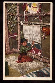 Fred Harvey Child Tsonsi Pah Navajo Indian Weaver New Mexico Postcard ...