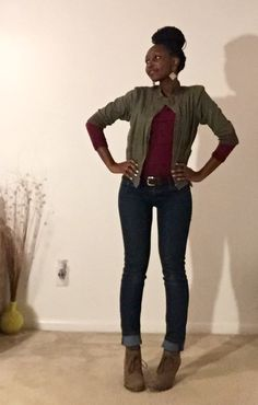 Burgundy shirt. Olive green cardigan. Jeans. Fall outfit. Fall.
