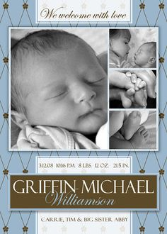 free photoshop template boy birth announcement by ashedesign via flickr - Free Baby Announcement Templates