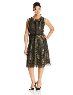 Anne Klein Women's Plus-Size Sleeveless Lace Seamed Fit and Flare Dress, Black/Gold, 14 Anne Klein http://www.amazon.com/dp/B00MS2K8FA/ref=cm_sw_r_pi_dp_4V47ub05X3P7F