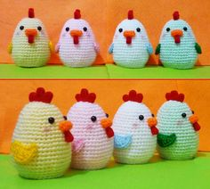 Crochet  Chiken Egg Cozy   One set of 4   Finish door DarmianiDesign
