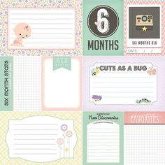 6 meses viejo Baby Girl revista Cards. Scrapbooking digital.
