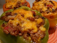 Low-Carb Stuffed Cheesy Peppers! - Try it with ground Turkey too... So good!