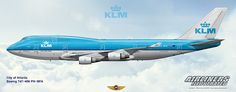 KLM Boeing 747-406 City of Atlanta PH-BFA Airliners Illustrated® by Nick Knapp©.