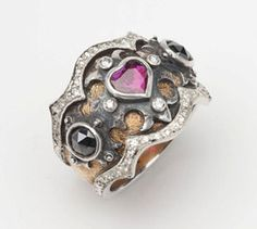 Ruby Heart Medieval Ring with Black and White Diamonds