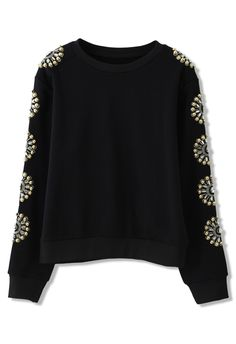 Floral Crystal Embellished Sleeves Sweat Top - Tops - Retro, Indie and Unique Fashion Vintage Tops, Style Me, Cool Style, Fashion Brand, Womens Fashion, Embellished Top, Blazers, Pulls, Black Sweaters