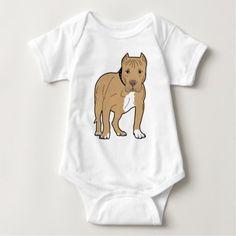 #Personalized American Pitbull Dog Baby Bodysuit - #pitbull #puppy #dog #dogs #pet #pets #cute #doggie