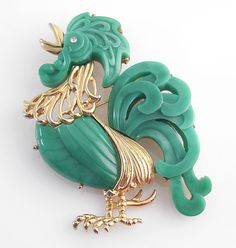 HATTIE CARNEGIE signed green and goldtone rooster brooch & pendantFrom greatbarbarian