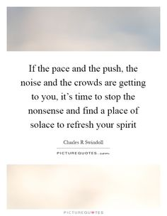 If the pace and the push, the noise and the crowds are getting to you, it's time to stop the nonsense and find a place of solace to refresh your spirit Picture Quote #1