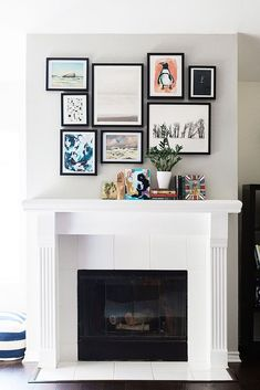 Home With A Minted Artist: Katie Keyworth Meet Katie Keyworth, the creative force behind Katie Craig Art, and Minted + domino's featured monthly artist Above Fireplace Decor, Fireplace Gallery, Fireplace Art, Fireplace Decorations, Fireplaces, Mantle Art, Fireplace Modern, Decorative Fireplace, My Living Room