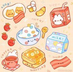 Cute Food Drawings, Cute Kawaii Drawings, Cute Animal Drawings, 365 Kawaii, Kawaii Art, Kawaii Doodles, Cute Doodles, Food Doodles, Cute Doodle Art