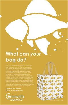 DESIGN FOR GOOD: ABBY BROWN (Advertising Design Major). Like many grocery stores across the country, Community Market stores encourage their customers to purchase reusable bags in hopes of reducing waste. Our job was to design a line of products and correlating promotional pieces to further their efforts.
