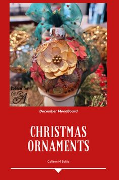 christmas - mixed media - ornaments Last Minute Christmas Gifts, Holiday List, Hannukah, Handmade Christmas, Christmas Bulbs, Mixed Media, December, Things To Come, Holiday Decor