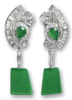 Jadeite and diamond ear clips