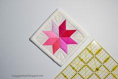 Mini Mini Quilt, Paper Pieced Star, Pink Quilt, Quilt, Mini Star Quilt    Twiggy and Opal