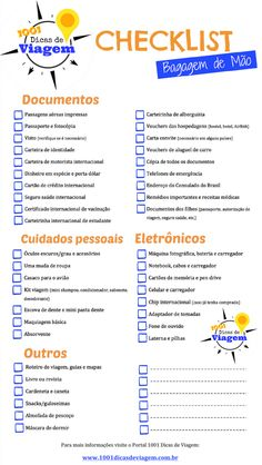 Bagagem de mão: o que levar + Checklist para organizar a sua mala Check List to pack your carry-on and don't forget a damn thing! By 1001 Travel Tips Travel Checklist, Travel Planner, Packing Tips For Travel, Travel List, Travel Goals, Travel Guide, Orlando Vacation, Vacation Trips, Orlando Airport