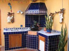 Baja BBQ. Rosarito. Blue talavera. handmade tiles. Mariachi wall art.