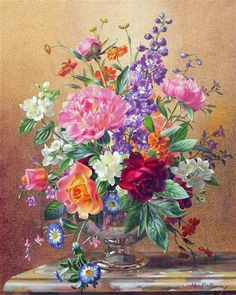 Artwork by Albert Williams, Summer flowers in a glass vase, Made of oil on canvas