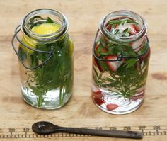herbal waters for late spring, gardenista Lemon, lemon balm and lovage Strawberry, sweet woodruff and stevia