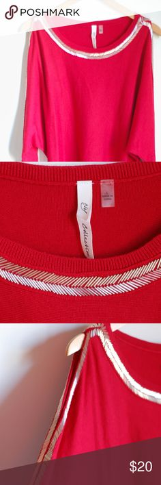 Red Cut Out Sleeve Top NY Collection red knit top with silver beading around the collar and down the sleeves!  The sleeves are cut at the shoulders.  Never worn!  Beautiful red! NY Collection Sweaters Crew & Scoop Necks
