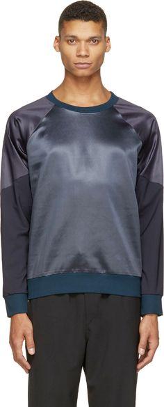 Paul Smith Navy   Purple Colorblocked Satin Sweatshirt Mens Sweatshirts e6b59150d7503