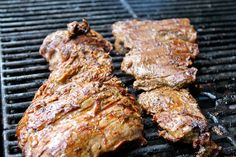 Load the grill with lots of steak and peppers for fajitas