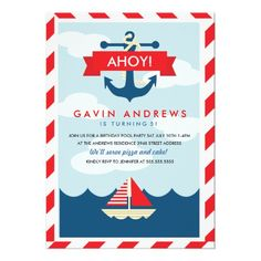 Ahoy! #Nautical Kid's #Birthday #Party #Invitations