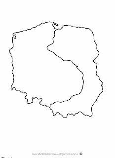 mapa polski kontur szablon Polish Language, String Art, Poland, Projects To Try, Education, School, Blog, Kids, Crafts